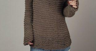 Mujer de punto a mano chocolate Eco suéter de gran tamaño moka - listo para enviar