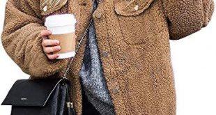 ECOWISH Damen Mantel Revers Faux Für Lose Langarm Outwear Tasche Reißverschlus...