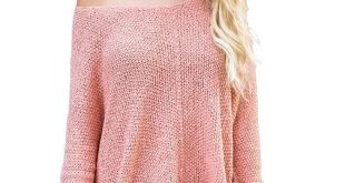 Pink High-low Side Slit Knit Oversized Sweater