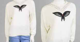 Vintage 80s Jumper Slouchy Sweater Butterfly Sweater Hipster Sweater Cream Sweater Metallic Sweater Lurex Embroidery Oversize Sweater Kawaii