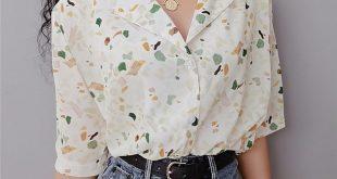 Vintage Floral Revers Shirt Lose BF Wind Chiffon Kurzarm Shirt von FE CLOTHING
