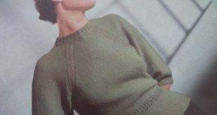 Vintage Knitting Pattern 1940s 1950s Womens Sweater Jumper raglan sleeves - 40s 50s original pattern