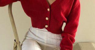 Vintage kirschroter Cardigan mit tiefem V-Ausschnitt aus Baumwolle und ...