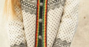 Vintage sweater, ivory wool cardigan, black red yellow green, Dale of Norway