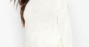 Womens Petite Ivy Oversized Sweater - cream - 0