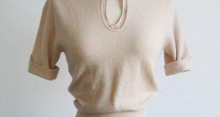 Cremefarbene Bluse mit Schlüsselloch-Pullover aus den 1940er Jahren