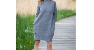 Oversized sweater dress Turtleneck knitted dress with pockets Merino wool warm winter dress for women