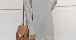 Solid Half-high Collar Long Sweater Dress