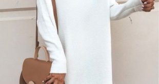 Sweater dress, fall style otk boots white tunic sweater dress #falloutfit #fallc...