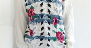 Vintage Floral Flower 80s Knit Sweater White 1980s Vintage sweater by Needles an...