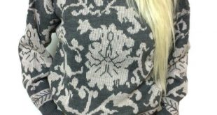 Vintage Gray Patterned Knit Arrow Swirl Mock Neck Kawaii Grunge Sweater TAG M Women's DK Gold By Donnkenny