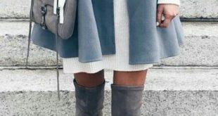 #Winter #Outfits / Grauer Mantel + Weißes Pulloverkleid